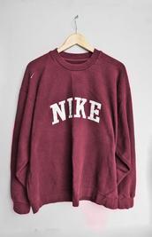 nike,nike sportswear,nike sweater,red,burgundy,burgundy sweater,sportswear,sweater,jumper,college,gym,oversized,oversized sweater,new,cozy,wine red,vintage pullover,retro,sweatshirt,maroon/burgundy,top,jacket,maroon nike big sweaterr,crewneck,crewneck sweatshirt,worn out effect,maroon sweatshirt,cute,marroon nike pullover,sporty,vintage,dark red,shirt,pinterest,white,words on shirt,comfy,nike sweatshirt,nike top red vintage,bordeaux rood nike,pull,long sleeves,pullover,skirt