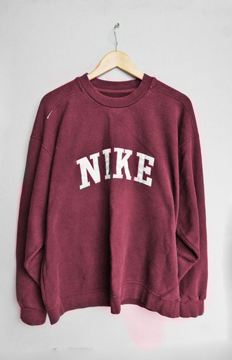 tumblr sweater nike pullover red red sweater nike sweater jumper shirt sweater indie vintage retro casual burgundy slogan oversized oversized sweater marion nike sweater