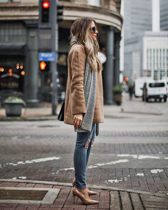 jeans tumblr blue jeans ripped jeans coat camel camel coat scarf grey scarf pumps pointed toe pumps high heel pumps sunglasses