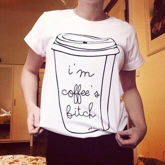t-shirt yeah bunny coffee white tee tee