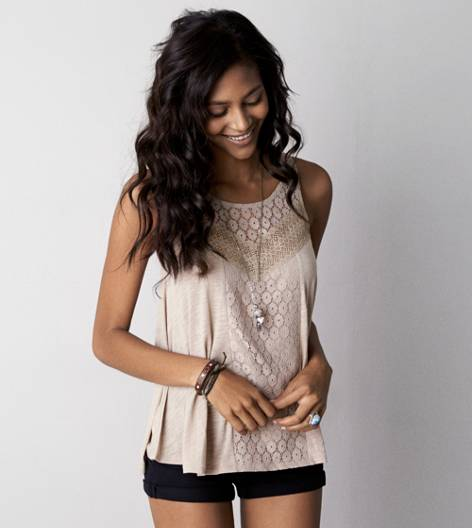 AE Mixed Lace Tank, Fox Run | American Eagle Outfitters
