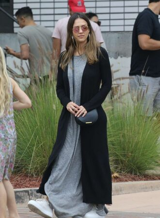 dress maxi dress grey jessica alba cardigan streetstyle sneakers