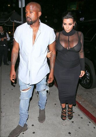 underwear bra all black everything kim kardashian sheer see through sandals skirt top blouse kanye west