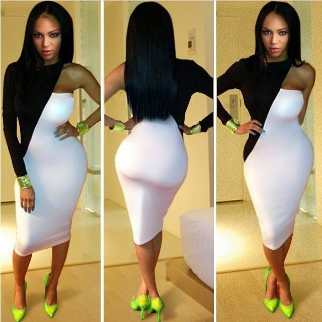 Sexy Bandage Dress Women Fashion 2014 One Shoulder Long Sleeve Black and White Dresses Bodycon BD1001-in Dresses from Apparel & Accessories on Aliexpress.com