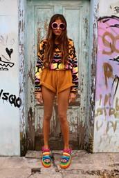 sweater,rainbow,shorts,shoes,sunglasses,tumblr,colorful,blouse,jumpsuit,summer,jumper,jeffrey campbell