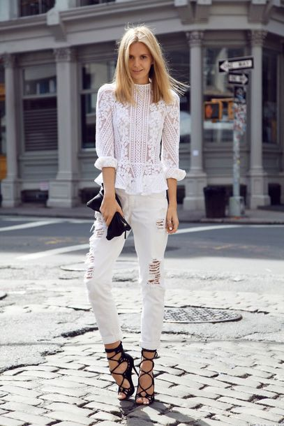 jeans white shirt distressed white jeans black lace up heels blogger shoes
