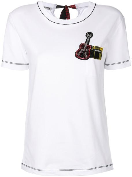 Miu Miu - guitar patch T-shirt - women - Silk/Cotton/Polyester/Wool - Xxxl, White, Silk/Cotton/Polyester/Wool