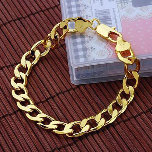 "18K Yellow Gold Filled Men's/Women's Bracelet 8.6""Link GF Curb Chain Jewelry 