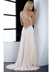dress,sleeveless but have straps,sweep train and embelished with beadings and rhinestones