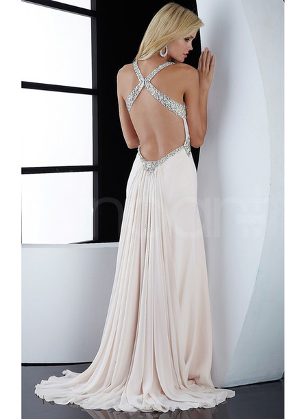 dress sleeveless but have straps sweep train and embelished with beadings and rhinestones