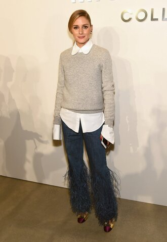 jeans flare jeans olivia palermo sweater shirt ny fashion week 2016 blogger feathers grey sweater white blouse