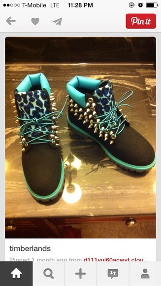 shoes spiked shoes timberlands leopard blue