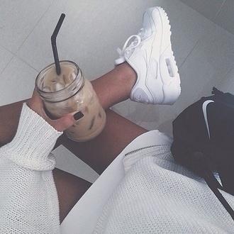 shoes nike air max sneakers white pretty nike shoes nike sneakers white sneakers nike air max 90 blanche nike air max 1 trendy coffee sweater nike bag