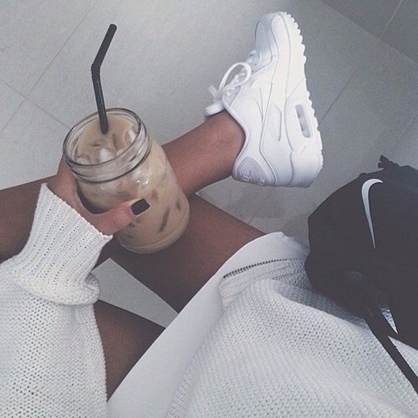 shoes nike air max air max sneakers white pretty nike shoes nike sneakers white sneakers nike air max 90 blanche nike air max 1 trendy air max coffee sweater nike bag