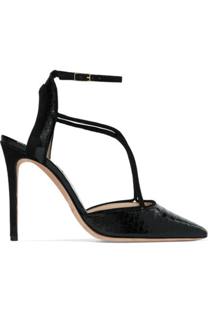 GIORGIO ARMANI python pumps suede black shoes