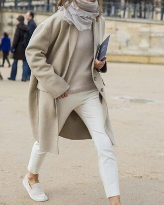 coat white and beige outfit white and beige beige coat sweater masculine coat white pants beige sweater scarf white shoes shoes slip on shoes winter outfits winter look tumblr no gender oversized coat