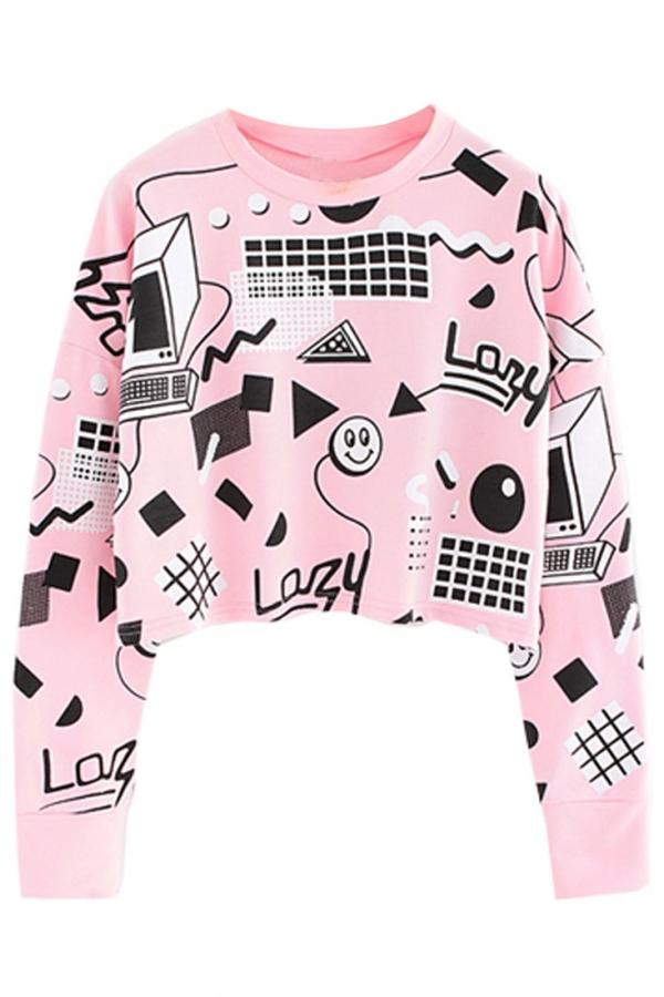 Blush Graphic Crop Sweatshirt - OASAP.com