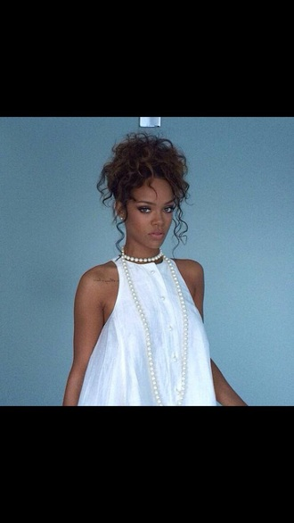 blouse rihanna pearl white dress