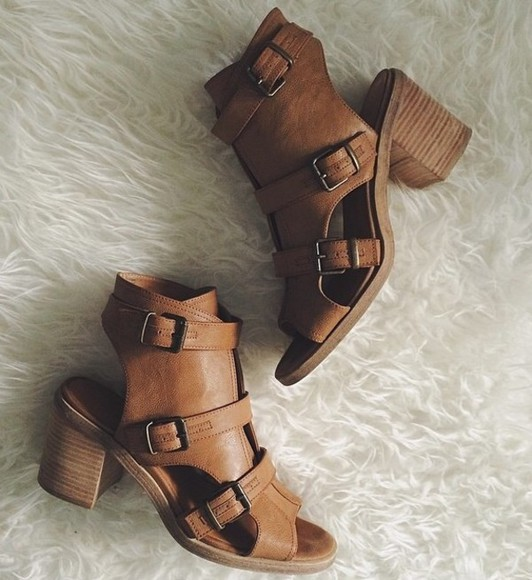 shoes brown leather boots buckles leather shoes cute heels style short heel boots cognac