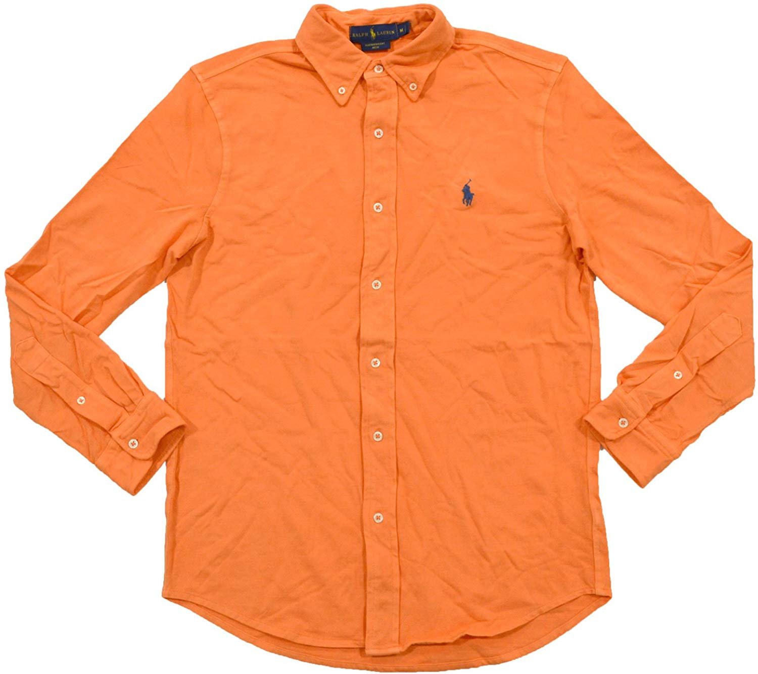 Polo Ralph Lauren Mens Featherweight Mesh Buttondown Shirt (M, May Orange) at Amazon Men's Clothing store