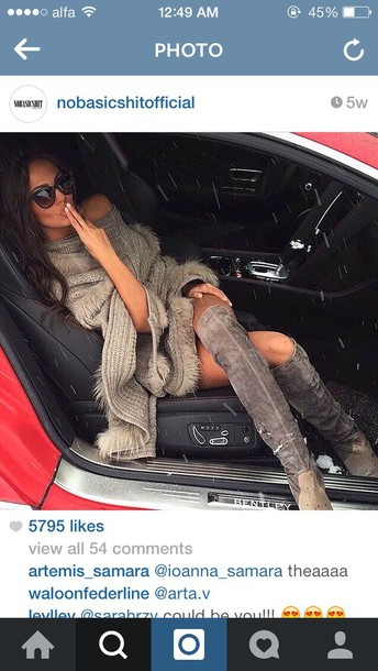 shoes boots grey overtheknee cardigan dress sweater scarf winter sweater knee high boots sunglasses fur fur coat