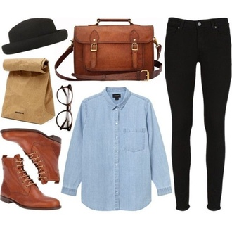 black jeans bag outfit boots brown bag brown leather boots denim shirt black hat glasses