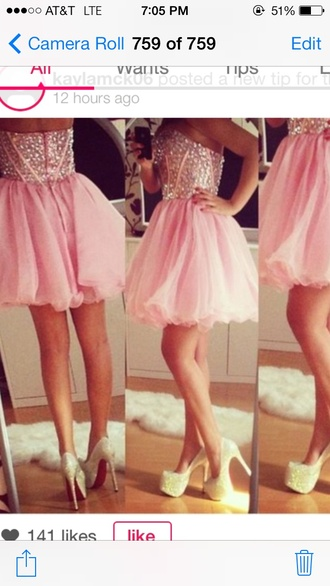 dress pink dress prom dress short prom dress rhinestone pink party dress