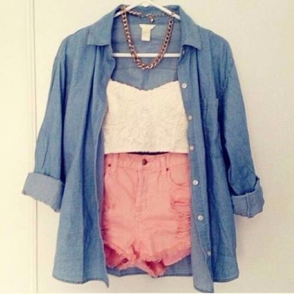 shorts jacket shirt crop denim cute top summer tank gold necklace floral chain accessories half cut