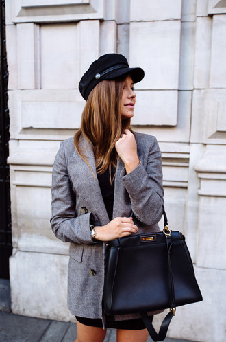 jacket tumblr blazer plaid plaid blazer bag black bag hat fisherman cap check blazer