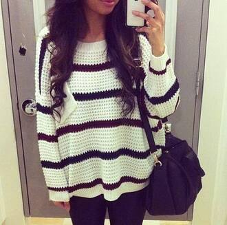 sweater black and white black and white sweater fall sweater fall outfits striped sweater