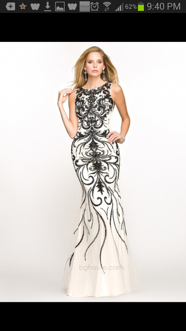 dress black white patterened tight long dress prom formal evening dress