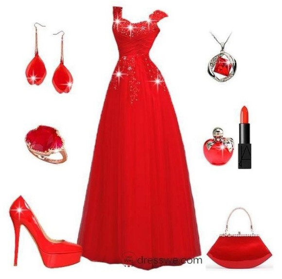 evening dress red fancy
