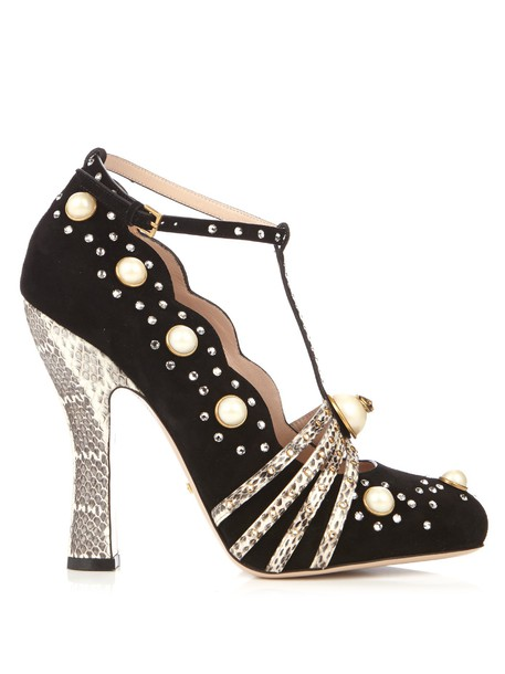 gucci embellished pumps suede white black shoes