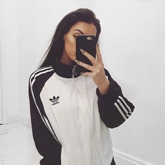 jacket adidas black and white jacket adidas adidas jacket stripes sweater coat black jack white cool hipster bomber jacket nice style teenagers adidas originals clothes