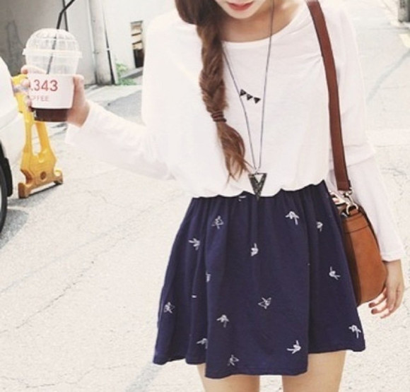 skirt necklace skirt floral cute outfits skater skirt cute dove skirts dove skirt dove bird bird skirt cute outfit outfit girly white navy navy skirt white shirt shirt bag blouse