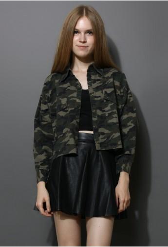 Washed camouflage military jacket