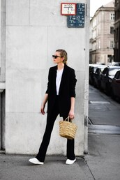 jacket,black,black blazer,top,white top,pants,black pants,shoes,bag