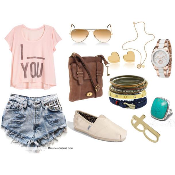 jewels toms denim jeans gold ring messenger bag sunglasses shorts shirt