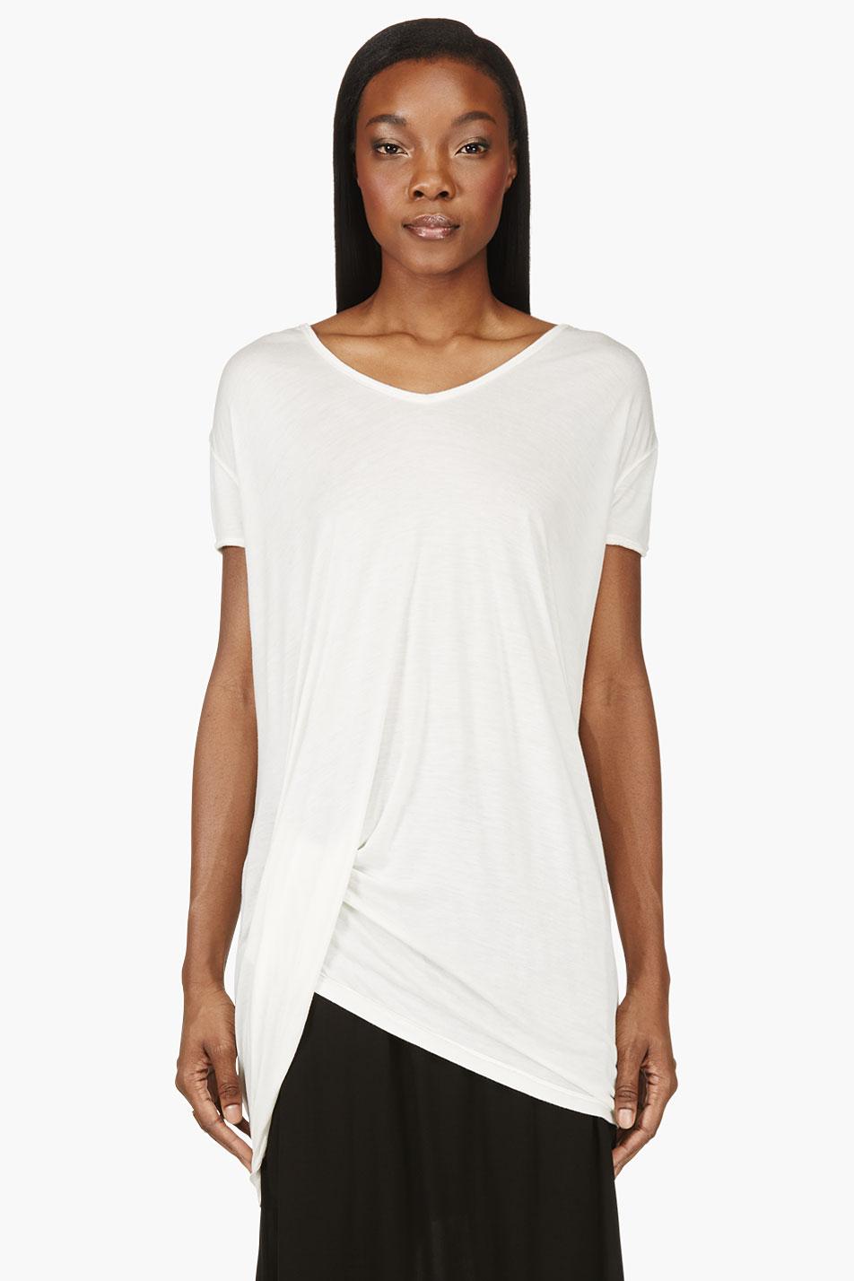 rick owens ivory white folded_hem t_shirt