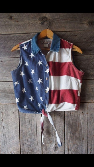 top blue stars red and white americanflag croptop sleeveless red white and blue