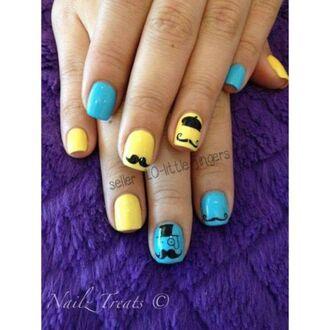 moustache nail accessories decoration stickers diy yellow symbols decals manicure pedicure