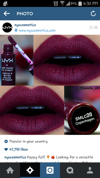 make-up burgundy lipstick lip stain lip gloss red lipstick collagen lips nyx cosmetics fall outfits grunge wishlist purple lipstick matte nyxcosmetics dark lipstick fashion