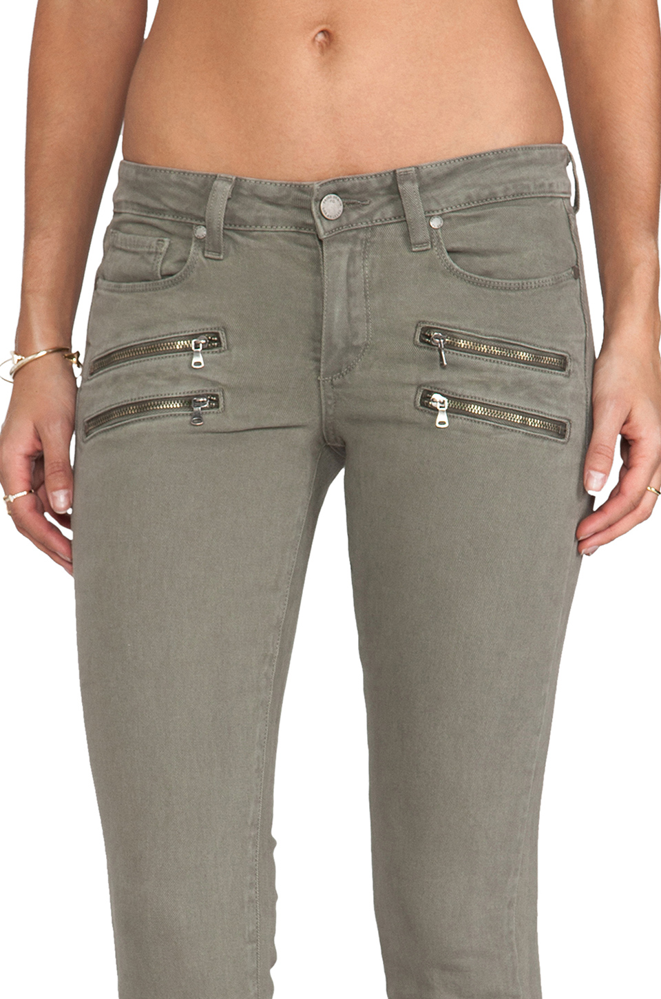 Paige Denim Edgemont Ultra Skinny with Zippers in Fatigue Green | REVOLVE