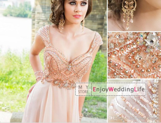 dress peach dress prom dress peach prom sequins bridesmaid