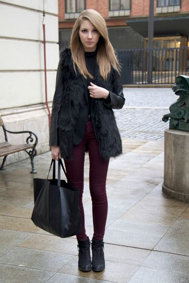 jeans bag jacket top fur vest black fur vest vest onlineshop tumblr girl back to school