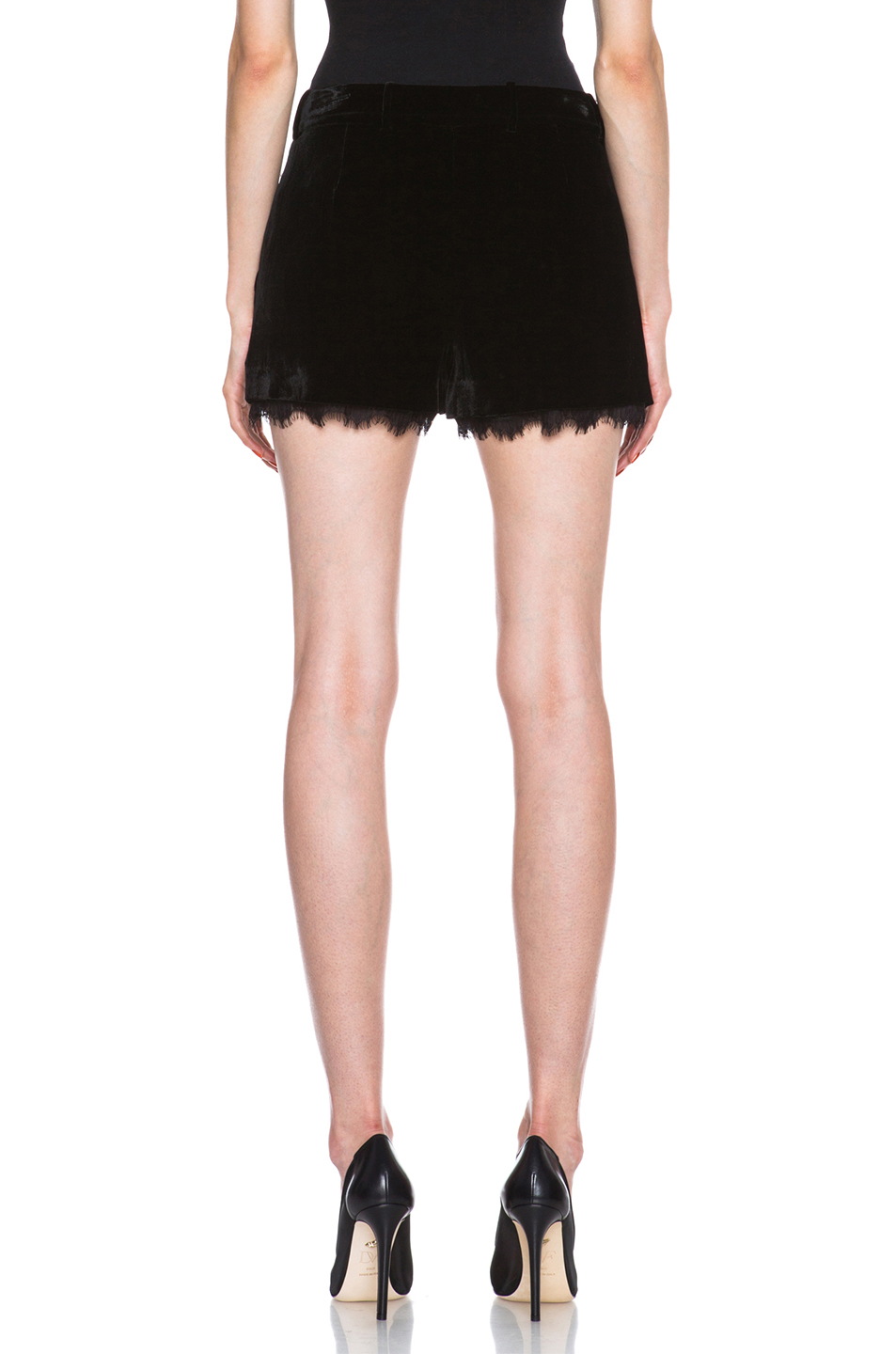 Diane von Furstenberg|Yara Velvet with Lace Shorts in Black