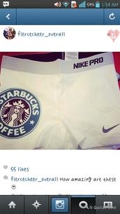 shorts,nike spandex,nike pro,starbucks coffee