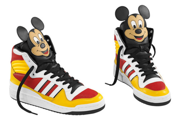 shoes adidas sneakers red yellow mickey mouse mickey mouse baskets