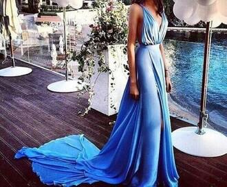 dress blue blue dress prom formal dress evening dress