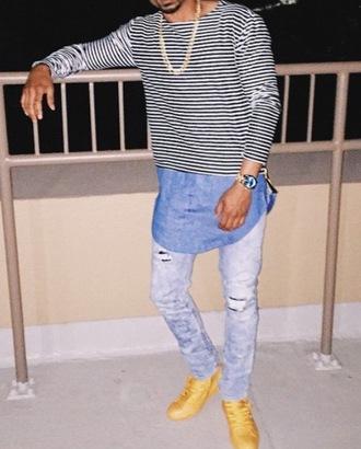 shirt stripes chambray hem denim hem longline shirt long sleeves